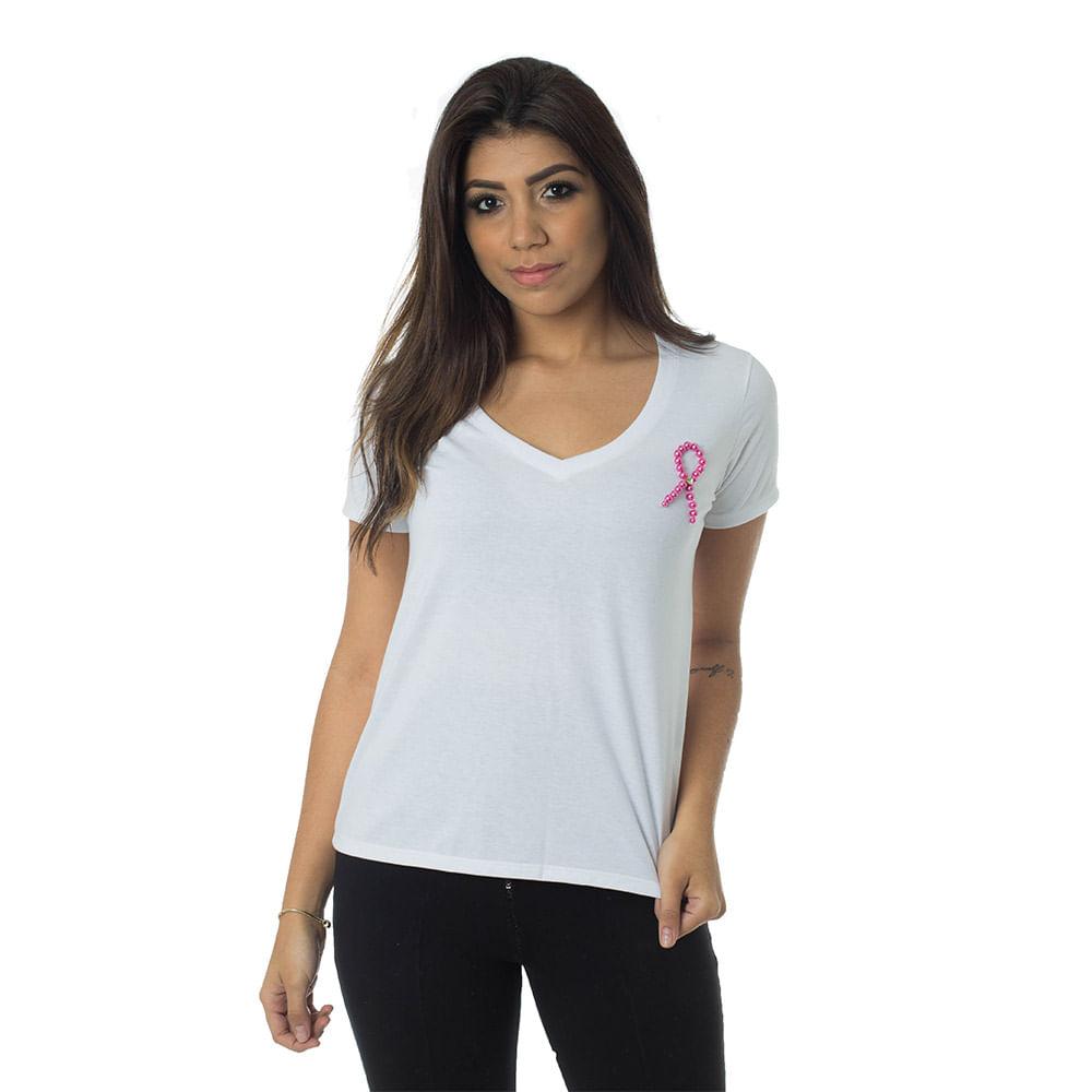 T-Shirt Daniela Cristina Outubro Rosa 602DC10333 Branco - Branco - G