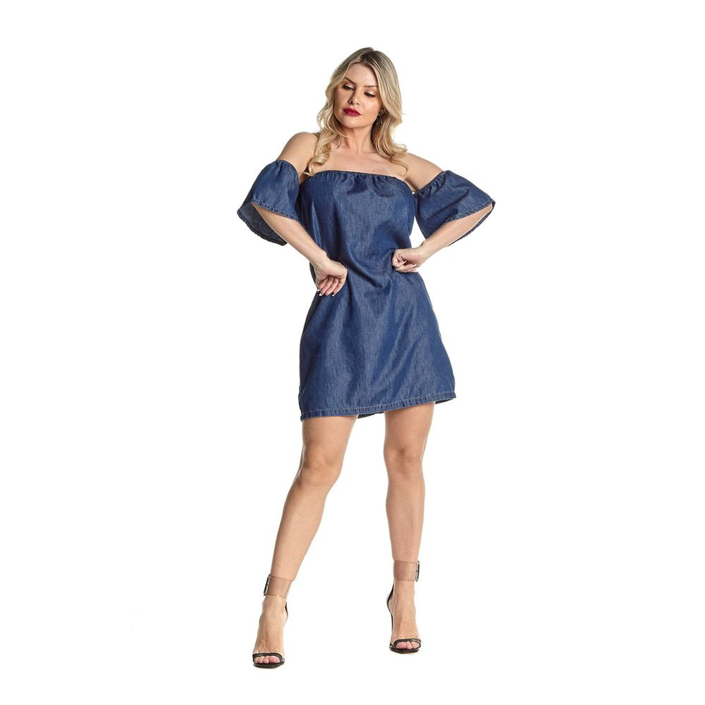 Vestido Curto Jeans Eventual 2255020058 Ombro a Ombro Azul - Azul - P