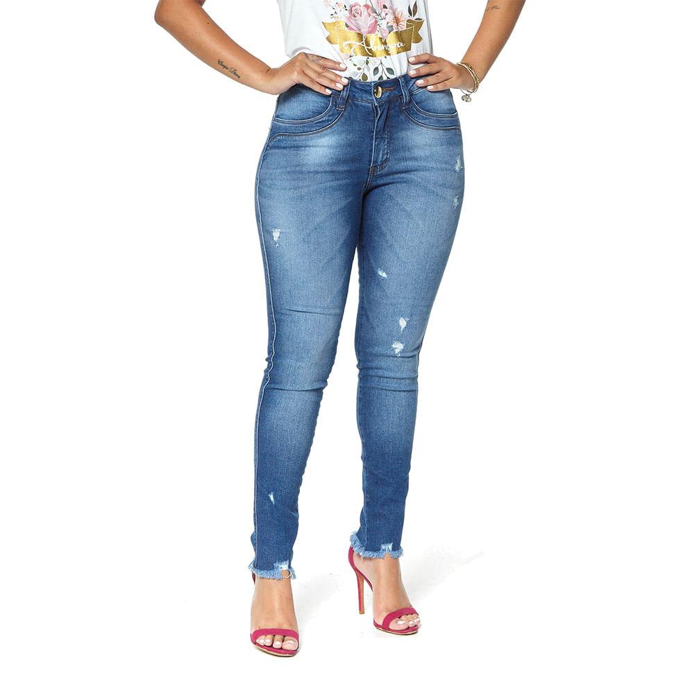 Calça Jeans Cigarrete Denuncia Mid Rise Skinny 206324152 Azul - Azul - 38