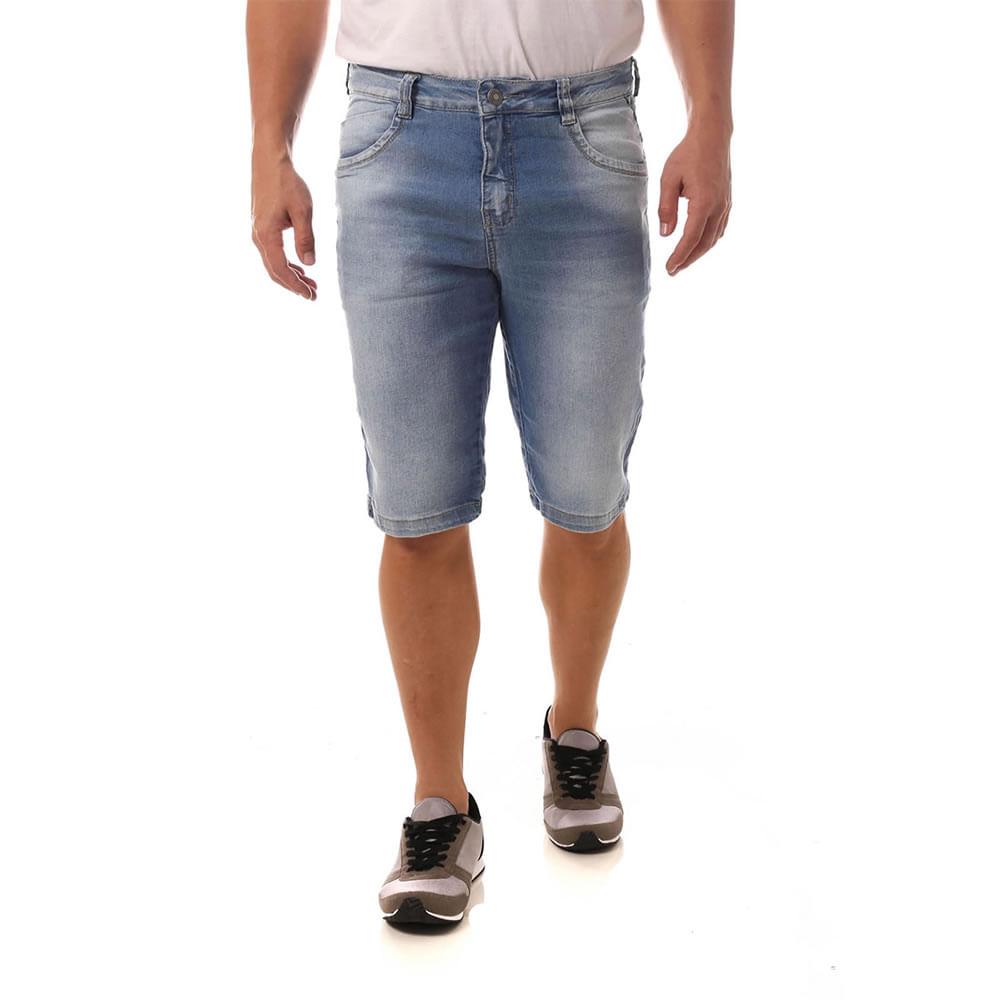 Bermuda Jeans Denuncia Middle Plus 103323121 Azul - Azul - 46