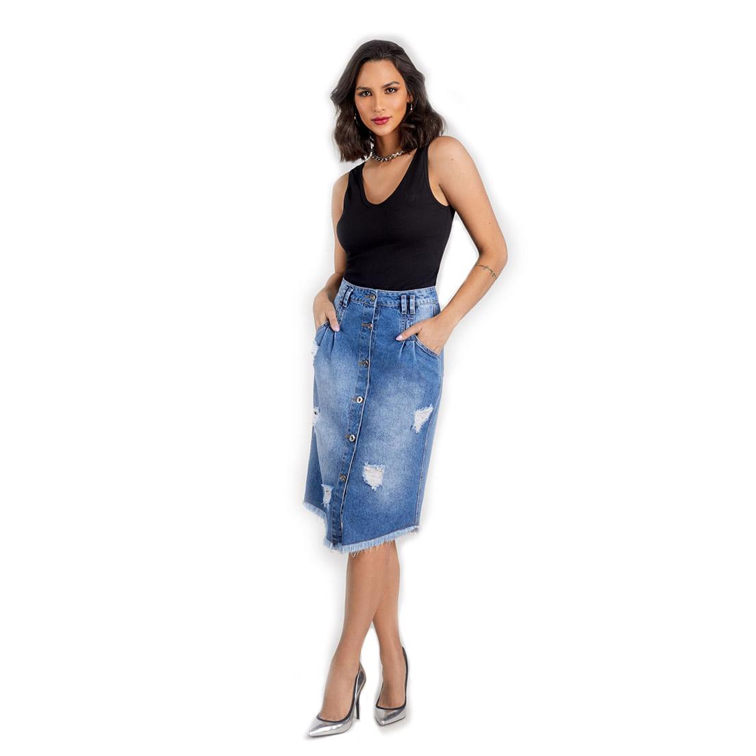 Saia Jeans Osmoze Midi 217122683 Azul